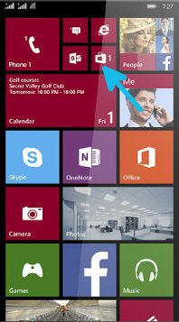 Windows Phone Menu with Marketplace Pointed Out