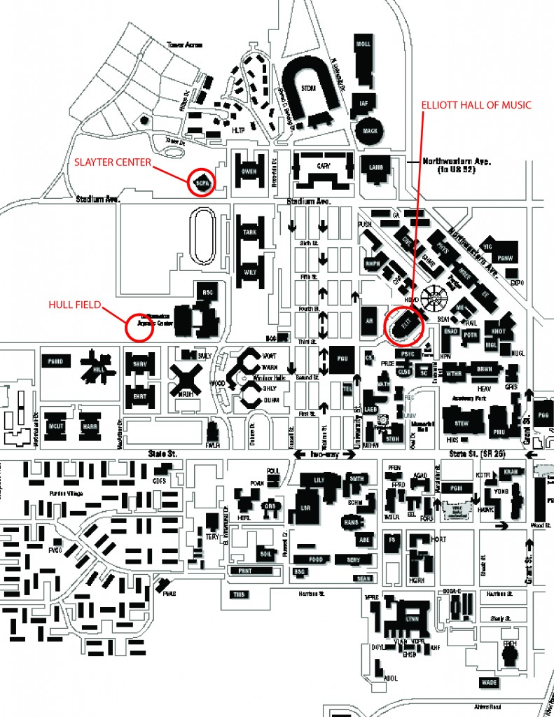 Purdue University Campus Map Map | Purdue University Purdue Bands & Orchestras