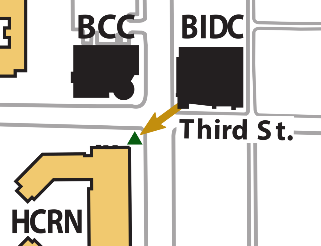 BIDC Building Evacuation Map showing HCRN Plaza