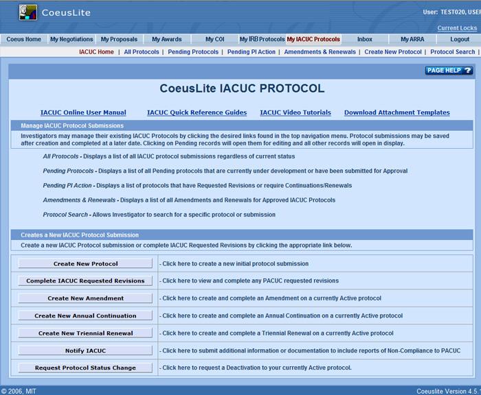 IACUC Protocol Homepage - Sponsored Program Services - Coeus ...