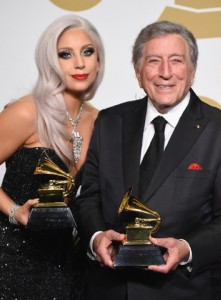 Lady Gaga and Tony Bennett at the 2015 Grammys