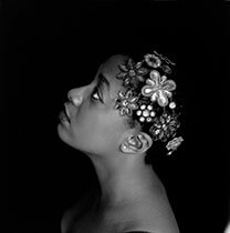 Cecile Mclorin Salvant, Black and White with Floral Hairpieces