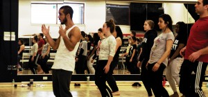 Diego Alves Dos Santos of Compagnie Käfig conducts a master class in hip-hop for Purdue Dance students