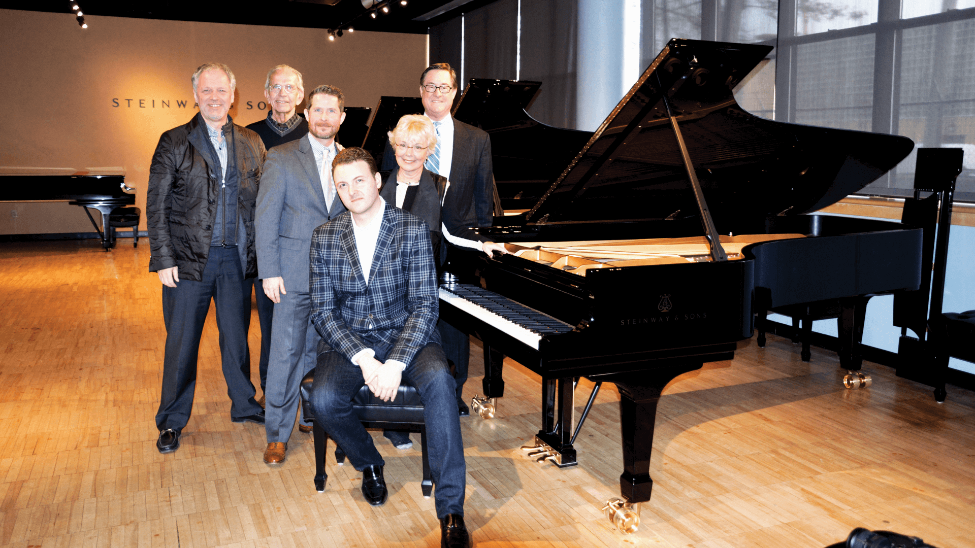Purdue Steinway Selection Group included Joel Harrison, John Nine, Todd Wetzel, Eric Zuber, Janet Nine, and Craig Gigax.