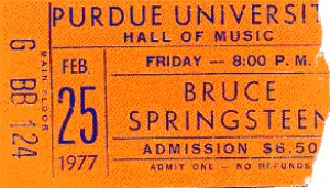 Ticket stub from Bruce Springteen at Purdue University, February 25, 1977