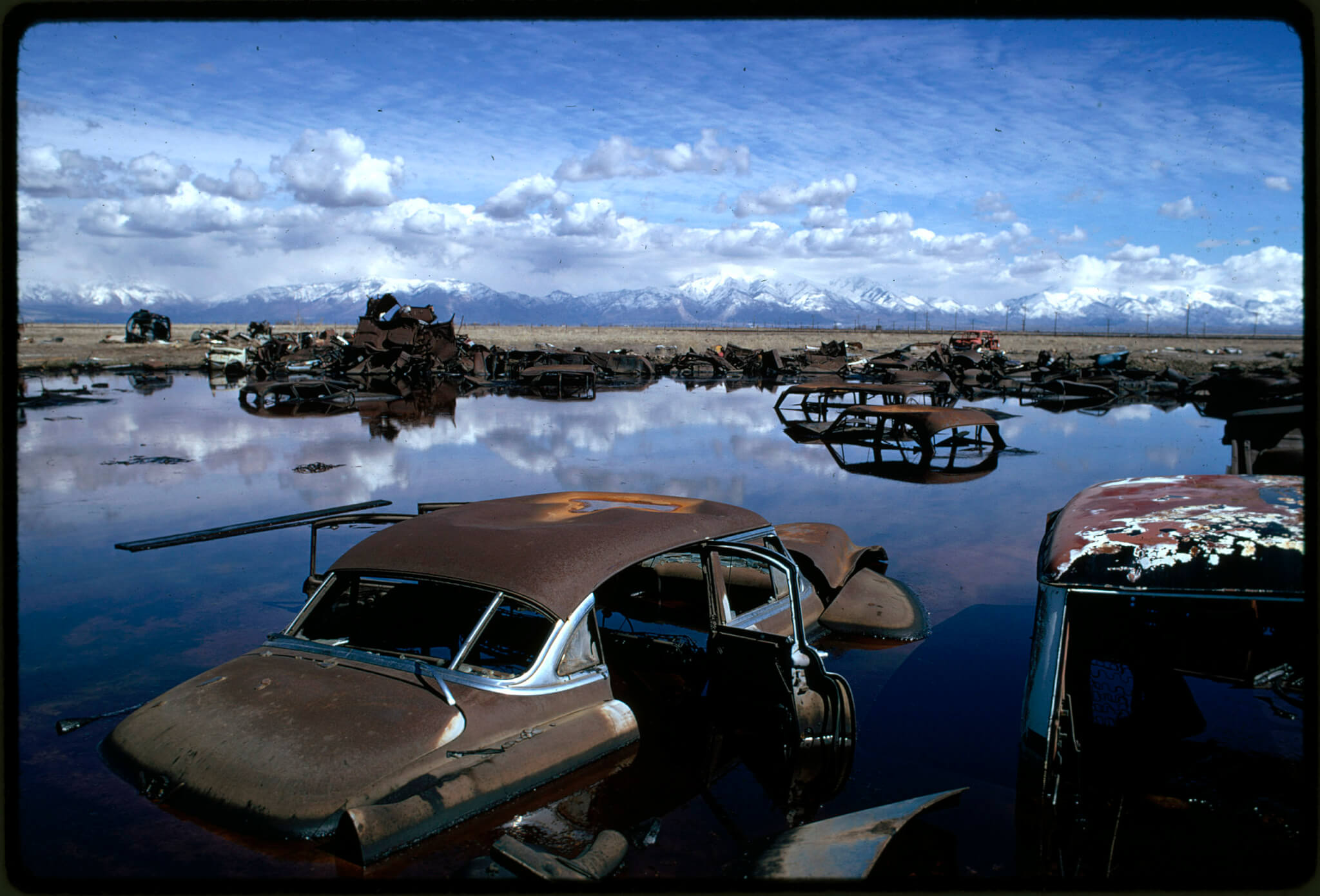 Abandoned automobiles in a lake