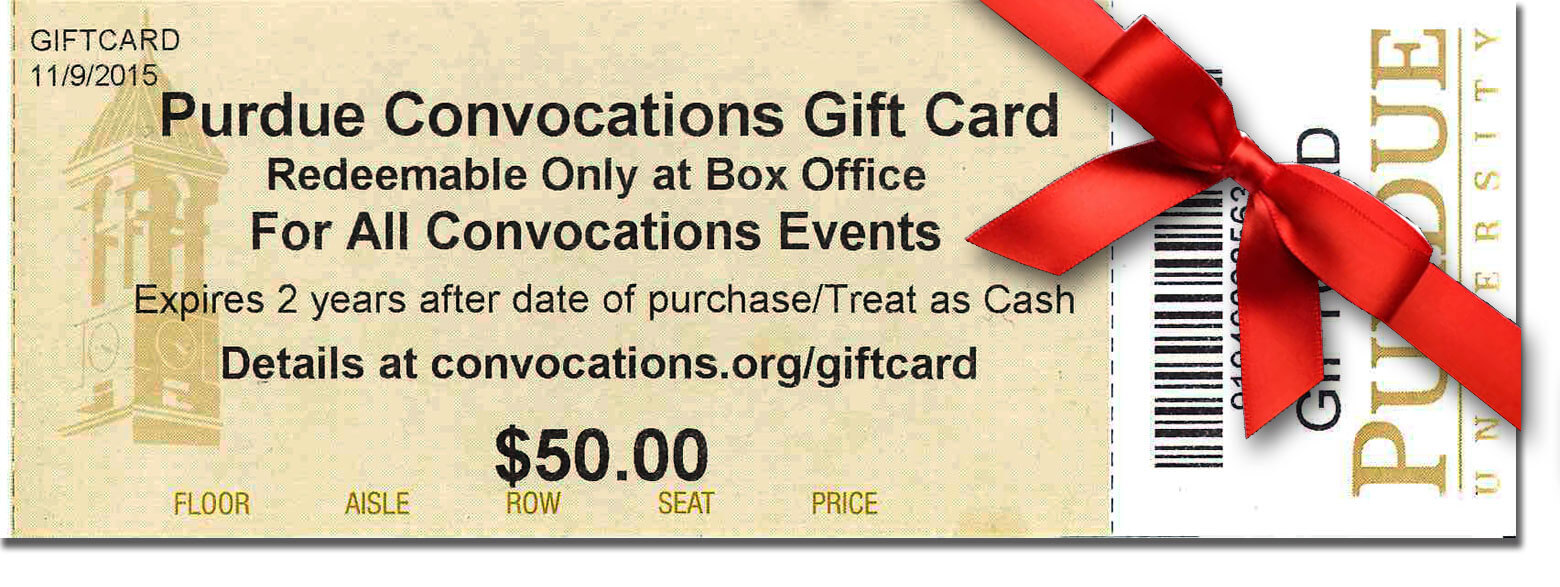 example of a Purdue Convocations gift card