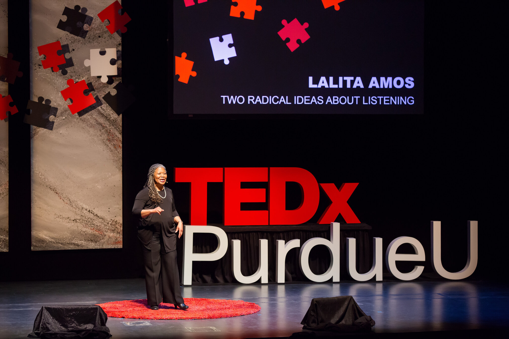 Lalita Amos gives a talk about listening