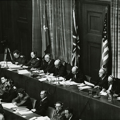 Photo of the judges sitting in Nuremberg