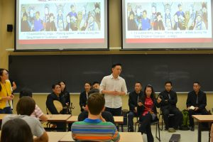 Members of Shanghai Jingju Theatre Company conducted a workshop with Purdue students