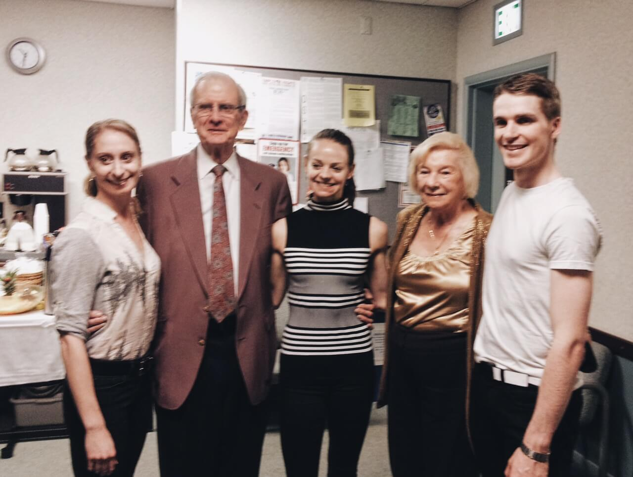 Jeanne Compton with members of Royal WInnipeg Ballet after Moulin Rouge