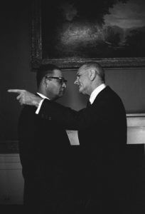 President Johnson and Louis Martin at the reception for Democratic National Committee Delegates, April 20, 1966