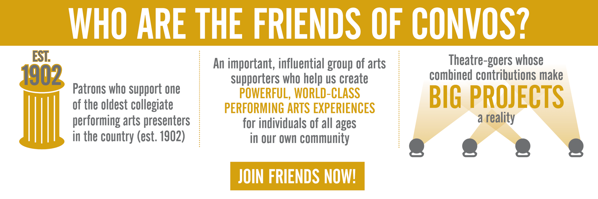 WHO ARE THE FRIENDS OF CONVOS? Patrons who support one of the oldest collegiate performing arts presenters in the country (est. 1902). An important, influential group of arts supporters who help us create powerful, world-class performing arts experiences for individuals of all ages in our own community. Theatre-goers whose combined contributions make big projects a reality.