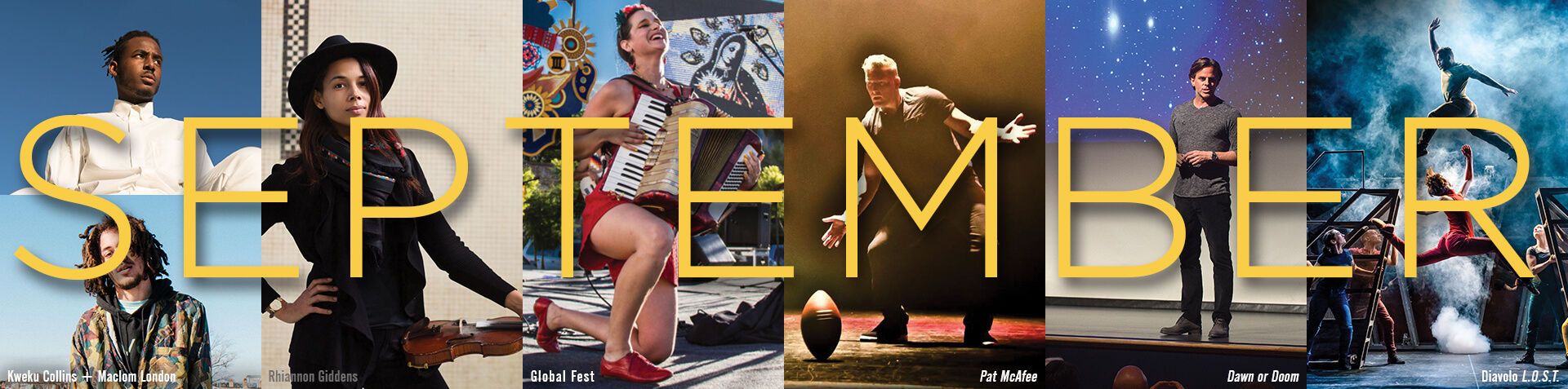 September from Purdue Convocations: Kweku Collins & Malcolm London, Rhiannon Giddens, Global Fest, Pat McAfee, Dawn or Doom, Diavolo L.O.S.T.
