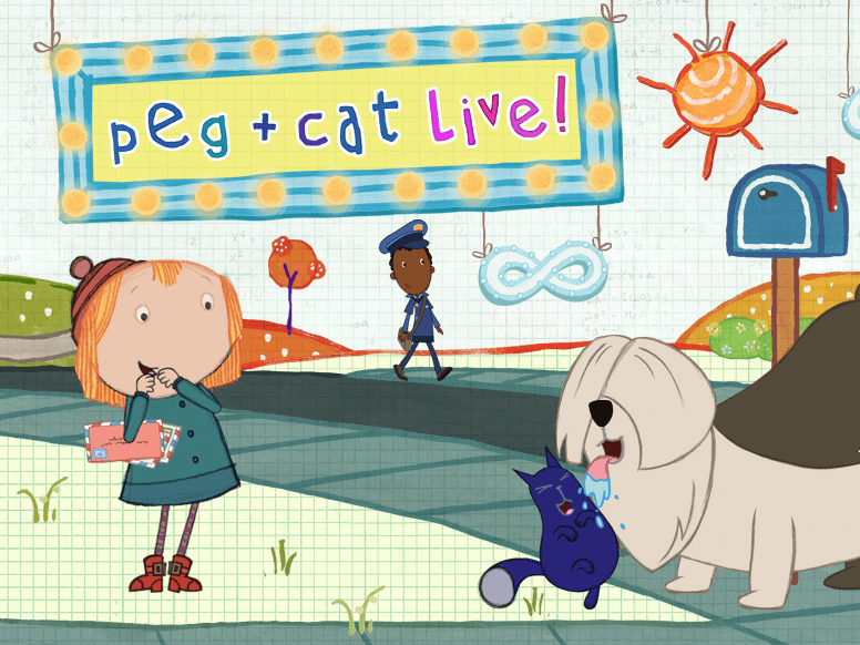 "Convocations leading ""Peg + Cat"" math skills theatre project"