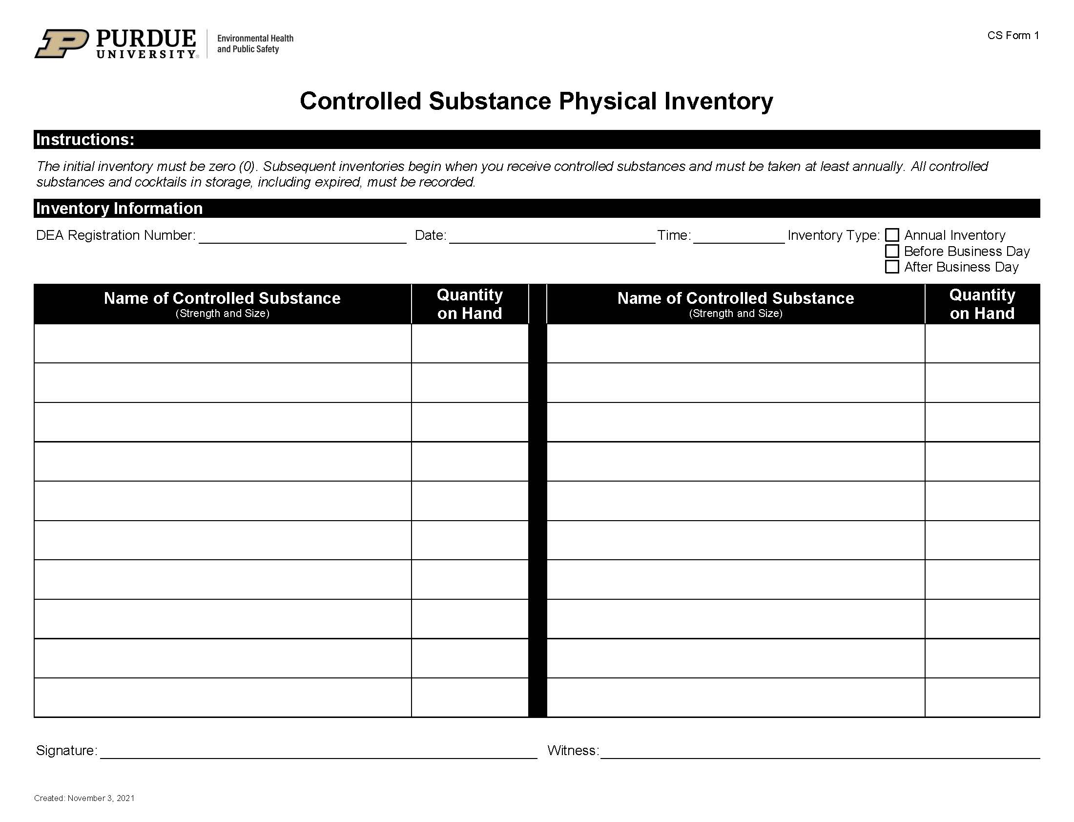 controlled substance physical inventory remcs form 1