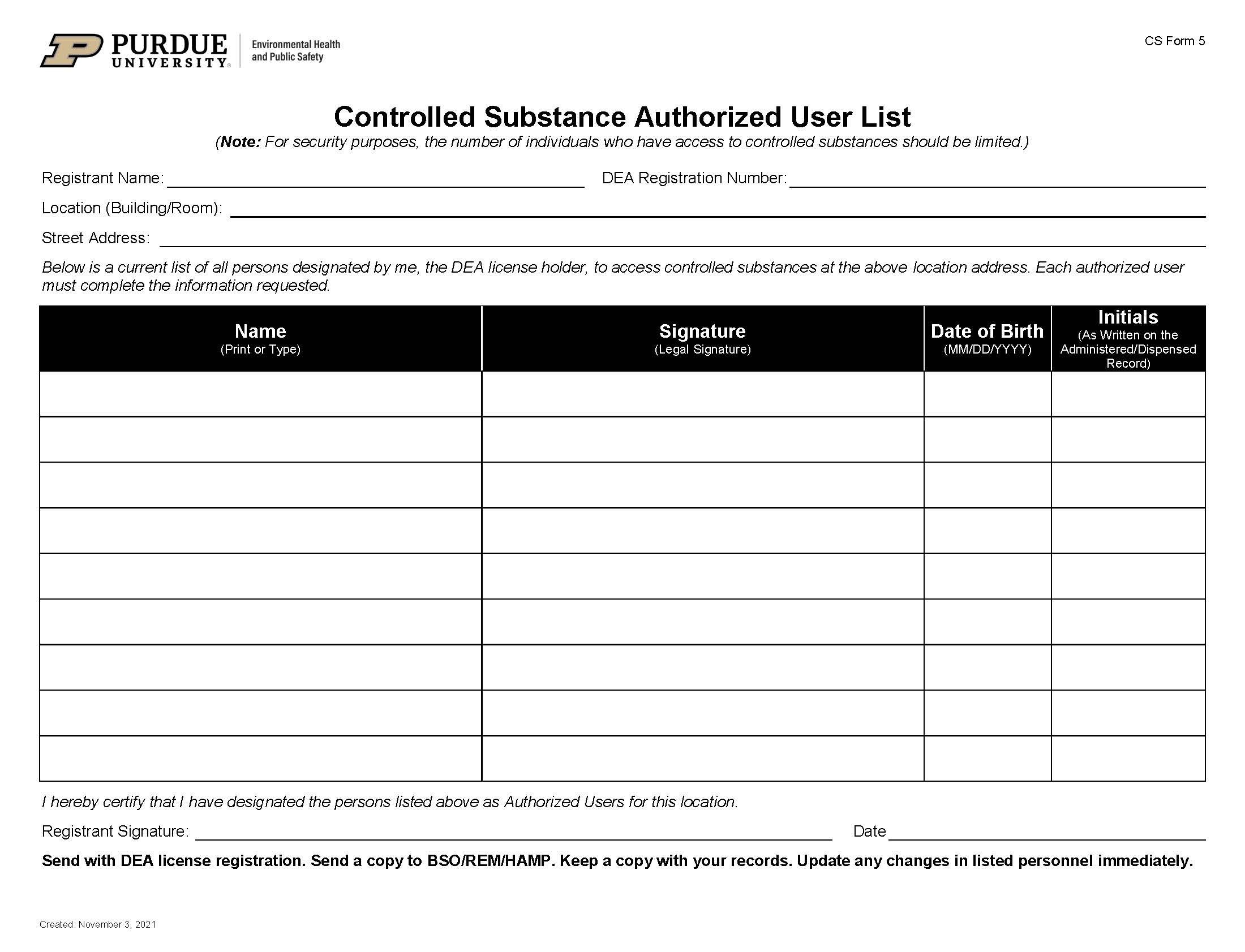 All forms radiological environmental management for Controlled drug register template