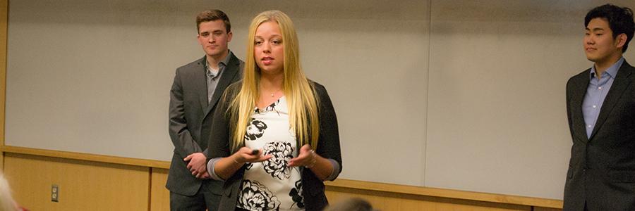 Female student presenting