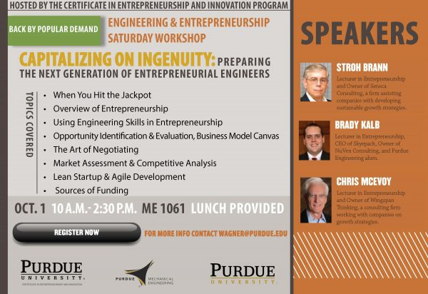 Engineering and Entrepreneurship Saturday Workshop – Oct. 1