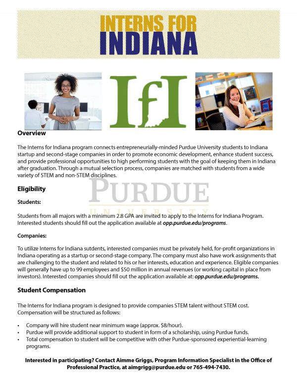 Interns for Indiana Program Application Open for Summer and Fall