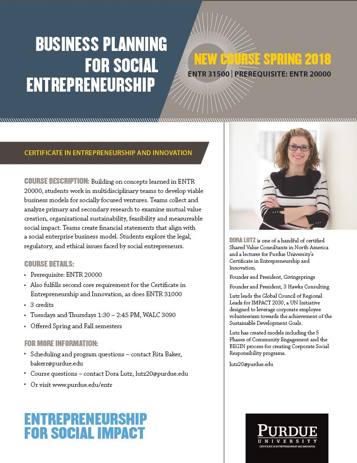 ENTR 31500 New Course Offering Flyer - Business Planning for Social Entrepreneurship