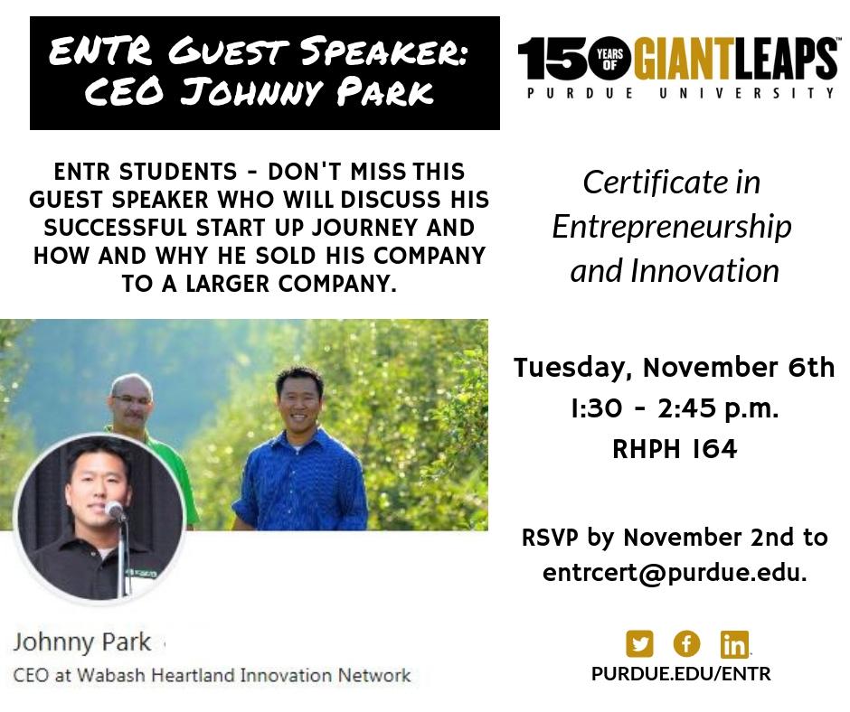 Guest Speaker Johnny Park