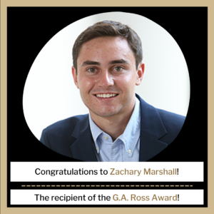 Zachary Marshall pictured: The recipient of the GA Ross Award