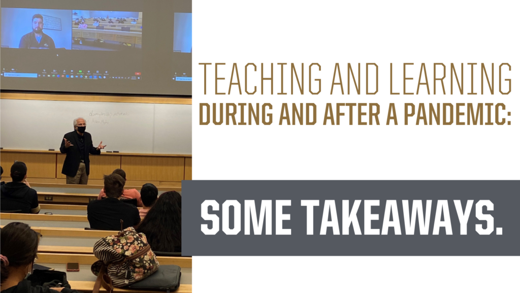 Teaching and learning during and after a pandemic: some takeaways. instructor with mask and socially distanced students and guest in zoom
