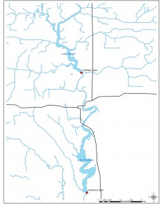 Map of Lake Freeman and Lake Shafer and the location of the dams