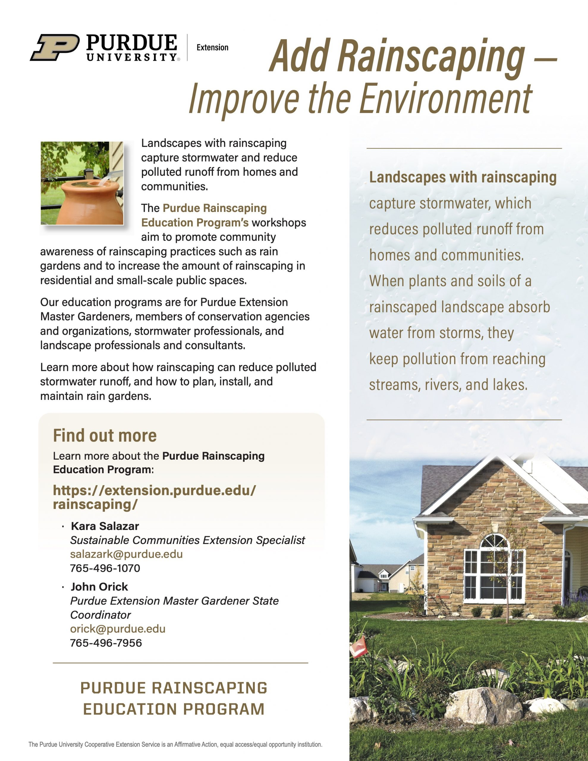 Rainscaping Flyer  - Improve the Environment