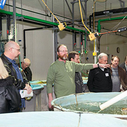 Aquaculture, Bob Rode teaching workshop at aquaculture research lab