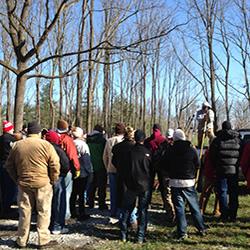 Crowd at FNR property for Forest Management Workshop.