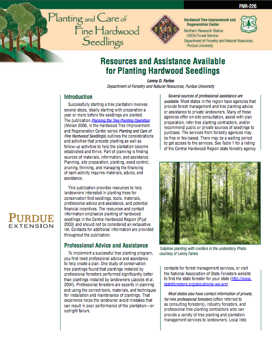 Department Of Forest And Natural Resources Purdue