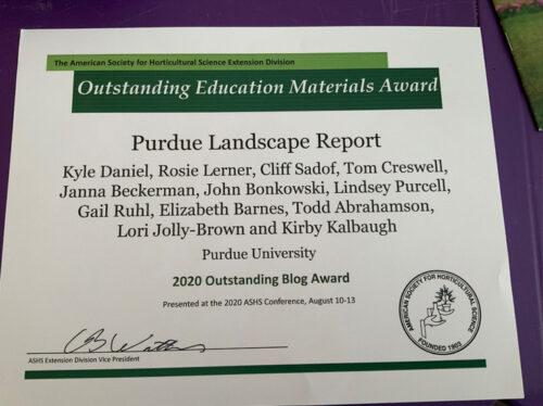 PurdueLandscapeReportAwardASHS