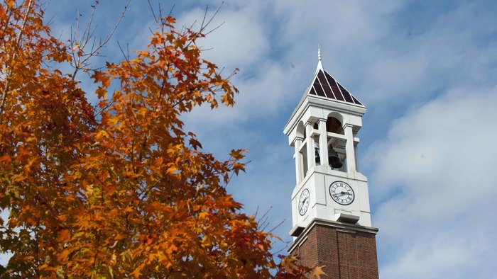 Fall scene with Purdue's Bell Tower in the background