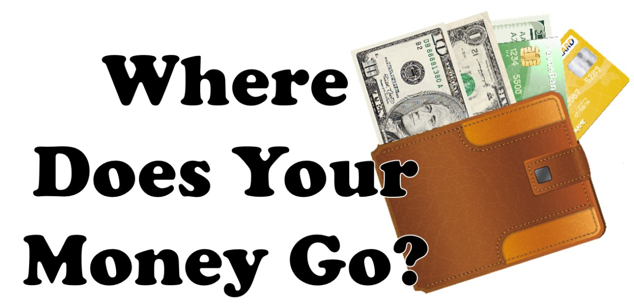 Where Does Your Money Go? Logo with images of wallet money and credit cards
