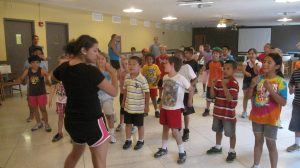 Campers playing organized games