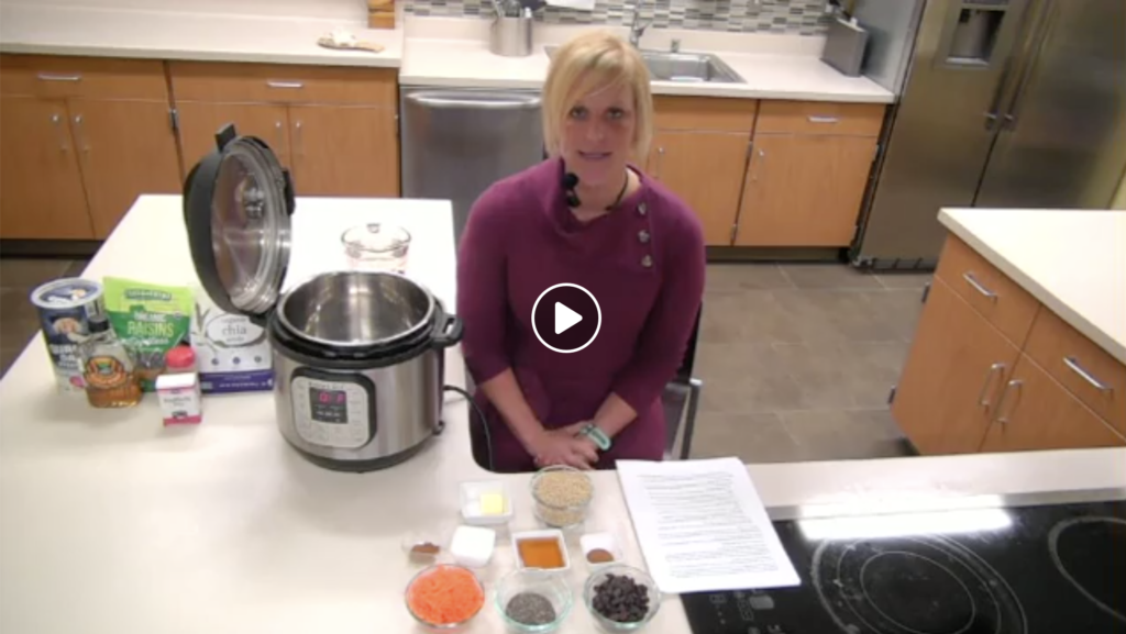 Monica Nagele, educator from Purdue University Health and Human Sciences Extension, demonstrates making Carrot Cake Steel Cut Oatmeal in an electric pressure cooker.