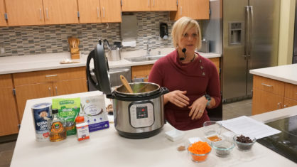 Facebook Live demonstration for making Carrot Cake Steel Cut Oatmeal in an electric pressure cooker.
