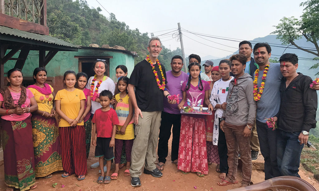 Professor Jonathon Day, leader of sustainable tourism projects, at a welcome ceremony in Nepal