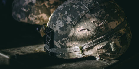 Hungry veterans need help - military helmet