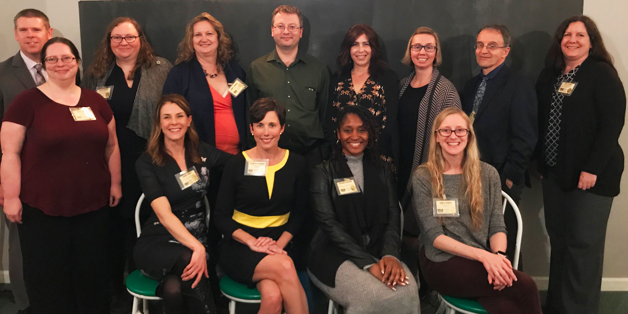 2019 Promoted Faculty in College of Health and Human Sciences: Back row, left to right: Scott Lawrance, Arielle Borovsky, Nancy Edwards, Darryl Schneider, Amy Brewster, AJ Schwichtenberg, German Posada, Zoe Taylor Front row, left to right: Ellen Wells, Regan Bailey, Libby Richards, Natasha Watkins, Sara Schmitt Not pictured: Jennifer Coddington