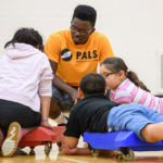 PALS participants learn about upper body strength during a session on SHARBADE boards (SHoulders AR BAck DEvelopment). (Purdue University photo)