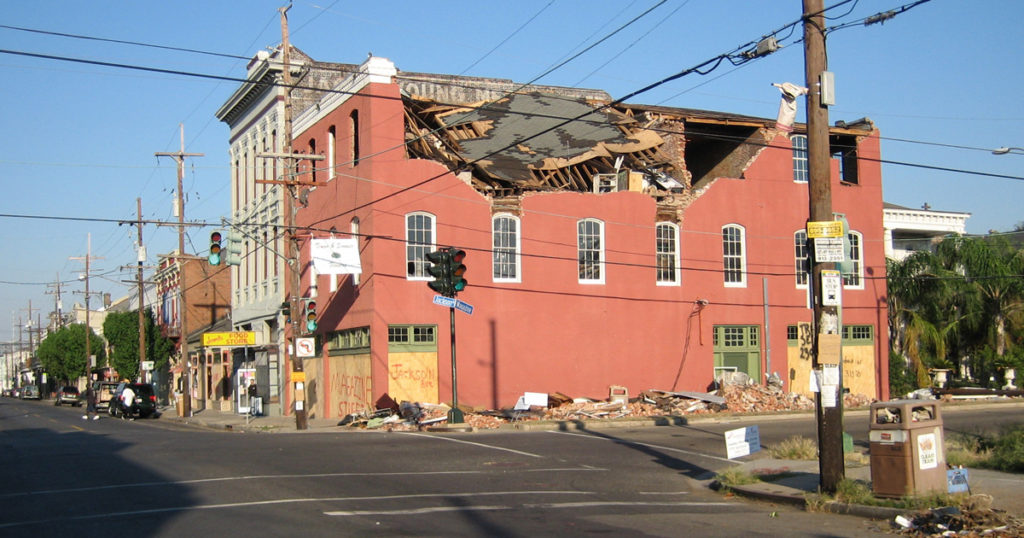 Buildings in New Orleans damaged by Hurricane Katrina