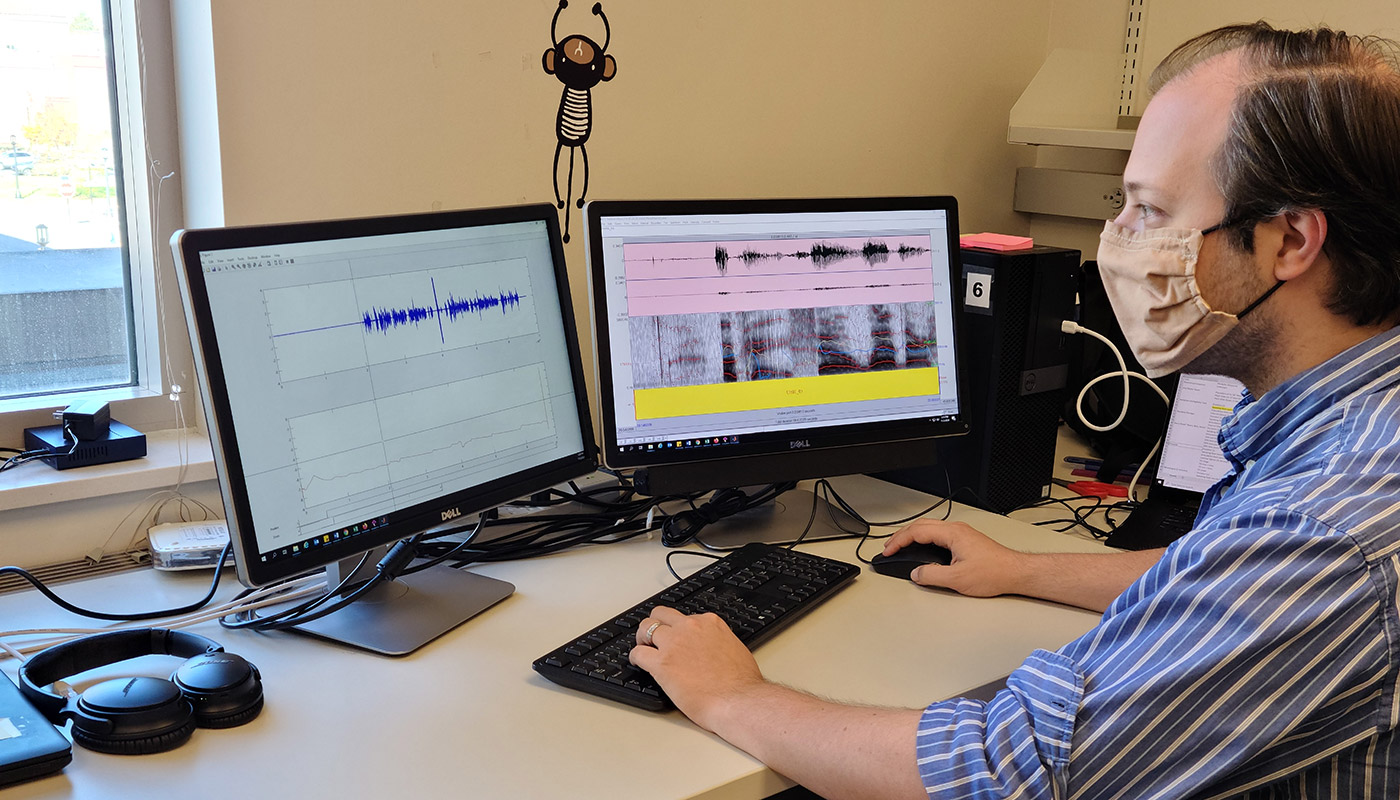 Andrew Exner, a PhD student in the Department of Speech, Language, and Hearing Sciences, is evaluating an artificial intelligence system that could enable patients with speech difficulties to be assessed at home.