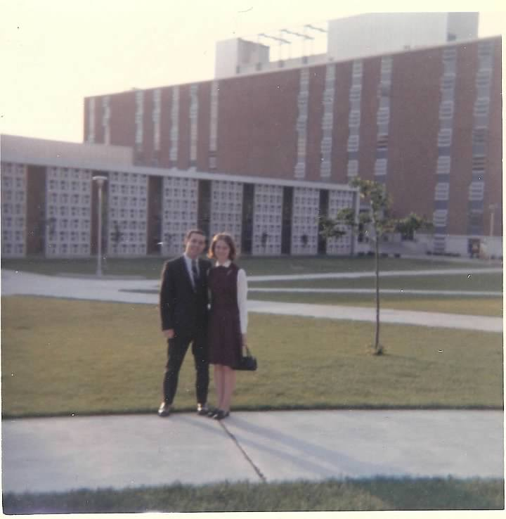 Roger and Vicki stand outside of Earhart Hall in 1968. The two met at a Harrison Hall–Earhart Hall social gathering and were married in August 1968.