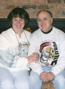 Roger and Vicki pose for a photo together before the 2001 Purdue Rose Bowl football game.
