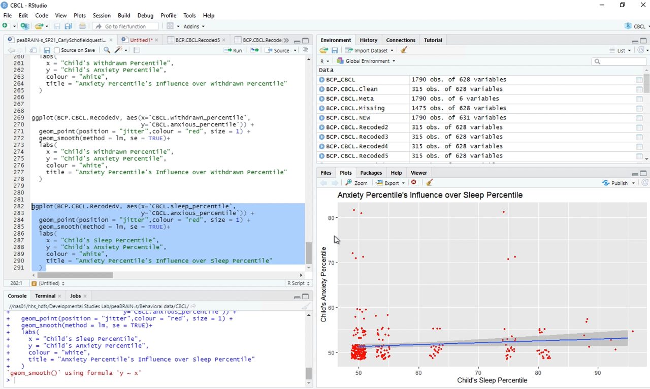 Students learn R, a statistical analysis package, in A.J. Schwichtenberg's lab. This is a screen shot of their work.
