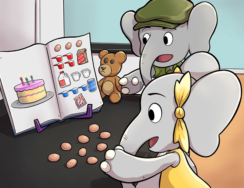 """The Little Elephants try to bake a cake in David Purpura's early math picture book """"Just Enough Eggs."""""""