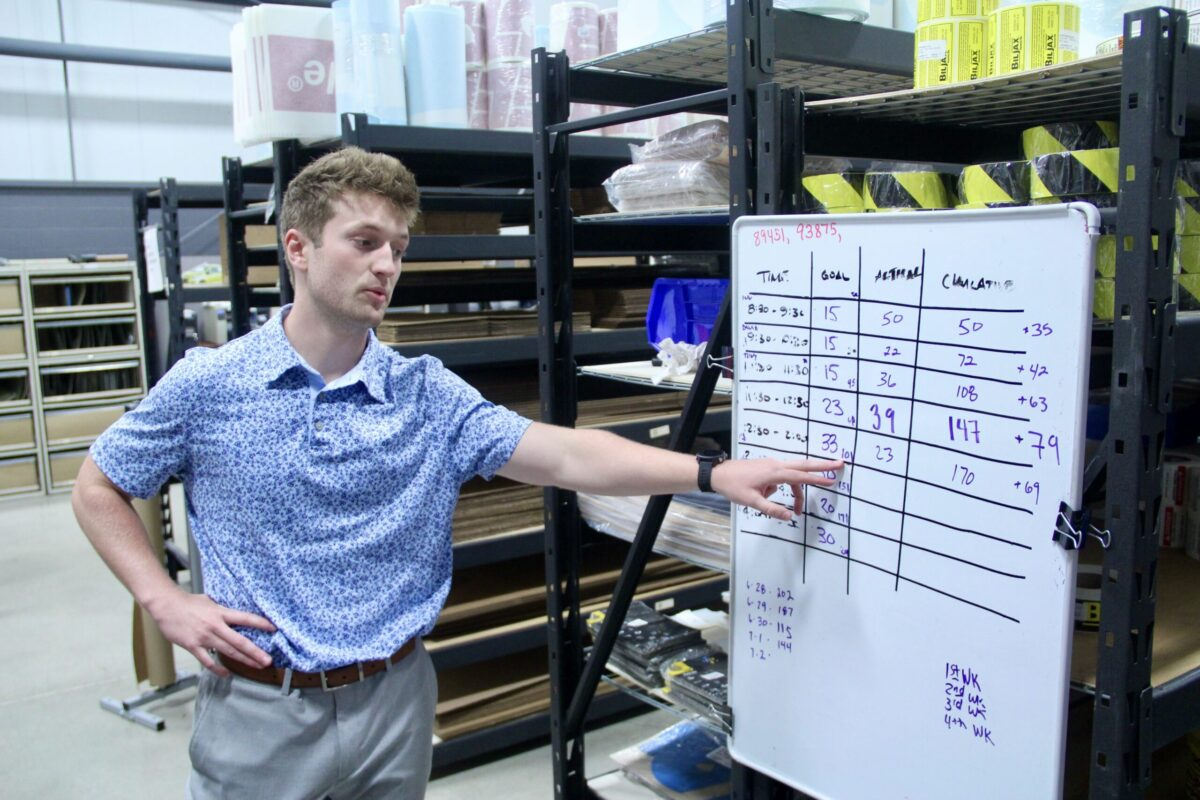 Sales and Sales Management senior Carter Cates visits the shipping area in DuraMark's Westfield, Indiana, offices. Cates will be interning at the safety label manufacturer's headquarters until early August.